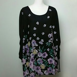 Black Floral Rouched Sleeve Blouse Sz 2x